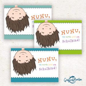 Einschulung Schulkind ersten Schultag Mädchen Junge Huhu Spaß Einladungskarte Postkarte DIY Illustratorin Catharina Voigt GrafischBecken
