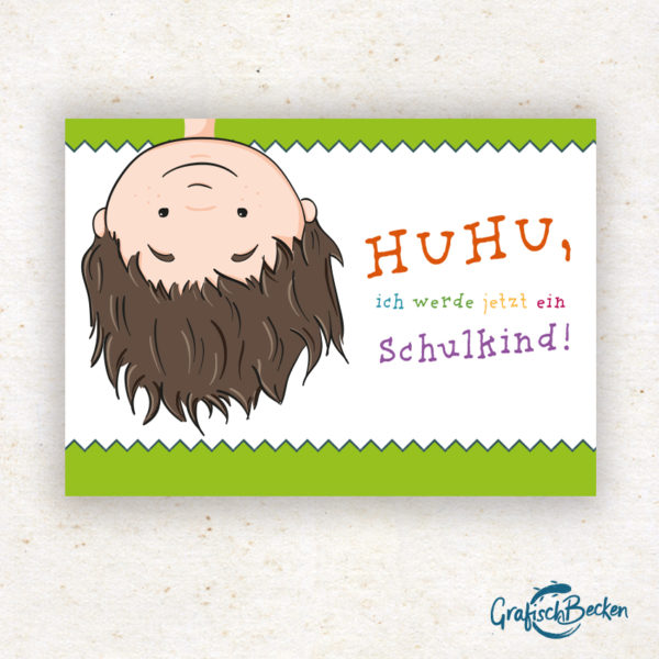 Einschulung Schulkind ersten Schultag Mädchen Junge Huhu Spaß Einladungskarte DIY basteln Digital download Illustratorin Catharina Voigt GrafischBecken