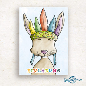 Hase Indianer Freude Blumen Spaß Einladungskarte Kindergeburtstag Geburtstag Postkarte Illustratorin Catharina Voigt GrafischBecken