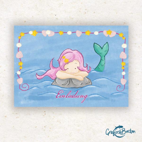 Meerjungfrau Spaß Einladungskarte Kindergeburtstag Geburtstag Postkarte Illustratorin Catharina Voigt GrafischBecken