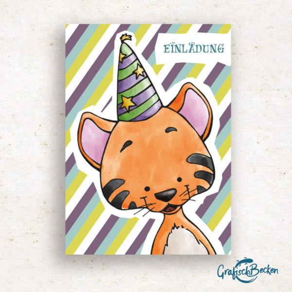 Tiger Freude Blumen Spaß Einladungskarte Kindergeburtstag Geburtstag Postkarte Illustratorin Catharina Voigt GrafischBecken