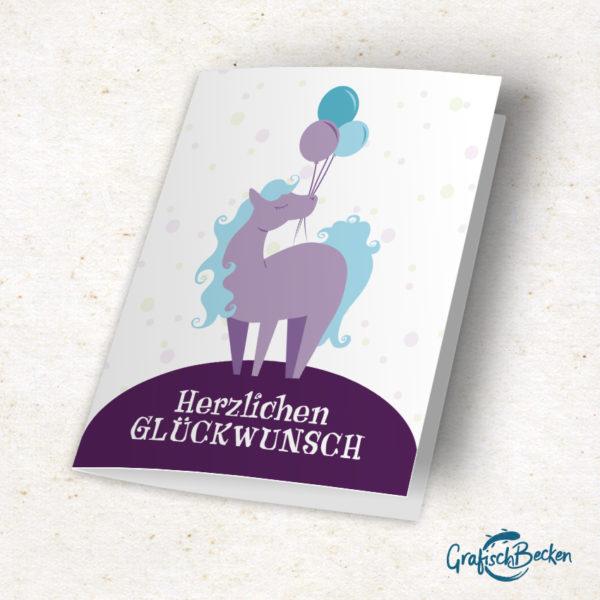 Pferd Glückwunschkarte Herzlichen Geburtstag Klappkarte Illustration Illustratorin Catharina Voigt GrafischBecken
