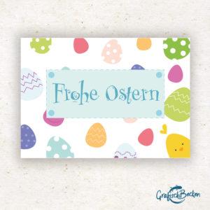 Ostern Osterstrauß Osterhase Küken Ostereiner Ei Postkarte Grußkarte Illustration Illustratorin Catharina Voigt GrafischBecken