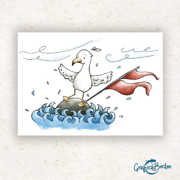 Meer See Nordsee Ostsee Möwe Wind Sturm Boje Postkarte Grußkarte Illustration Illustratorin Catharina Voigt GrafischBecken