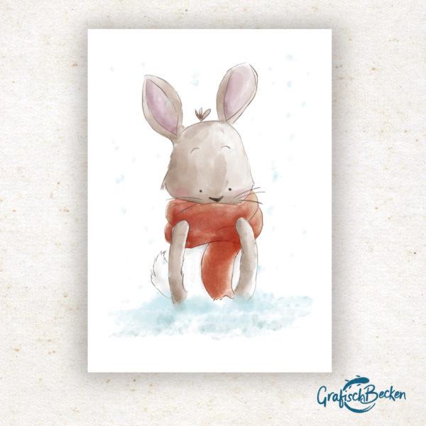 Hase Winter Weihnachten frohe xmas Weihnachtsfest Grüße Postkarte Grußkarte Illustration Illustratorin Catharina Voigt GrafischBecken