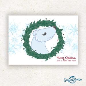 Eisbär Weihnachten frohe xmas Weihnachtsfest Grüße Postkarte Grußkarte Illustration Illustratorin Catharina Voigt GrafischBecken