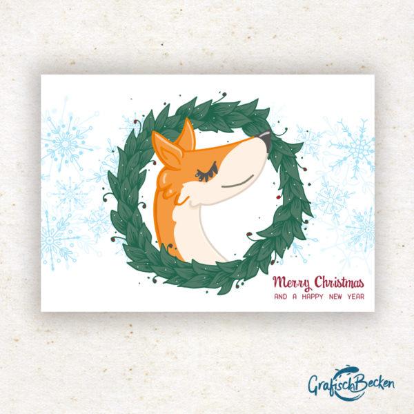Fuchs Weihnachten frohe xmas Weihnachtsfest Grüße Postkarte Grußkarte Illustration Illustratorin Catharina Voigt GrafischBecken