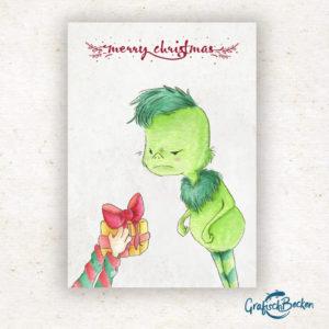 Grinch Geschenk Weihnachten frohe xmas Weihnachtsfest Grüße Postkarte Grußkarte Illustration Illustratorin Catharina Voigt GrafischBecken