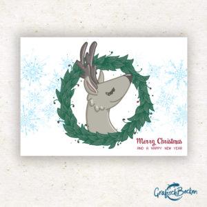 Hirsch Rentier Weihnachten frohe xmas Weihnachtsfest Grüße Postkarte Grußkarte Illustration Illustratorin Catharina Voigt GrafischBecken