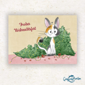 Katze Tannenbaum Weihnachten frohe xmas Weihnachtsfest Grüße Postkarte Grußkarte Illustration Illustratorin Catharina Voigt GrafischBecken