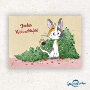 Katze Tannenbaum Weihnachten frohe xmas Weihnachtsfest Grüße Postkarte Grußkarte Illustration Illustratorin Catharina Voigt GrafischBecken