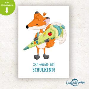 Postkarte Einschulung Schulkind ersten Schultag Fuchs Spaß Einladungskarte DIY basteln Digital download Illustratorin Catharina Voigt GrafischBecken