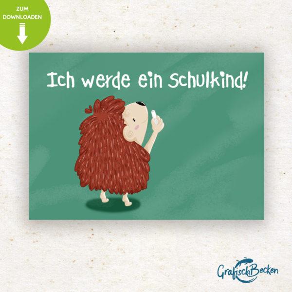 Postkarte Einschulung Schulkind ersten Schultag Igel Spaß Einladungskarte DIY basteln Digital download Illustratorin Catharina Voigt GrafischBecken