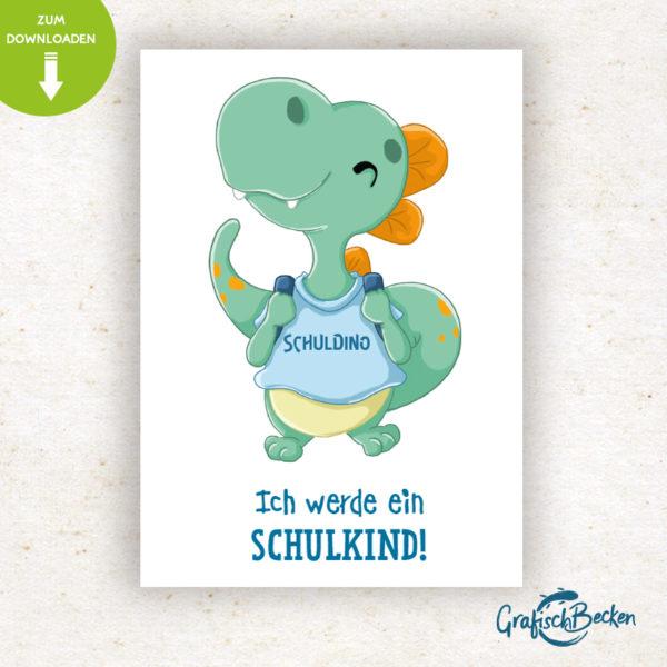 Einschulung Schulkind ersten Schultag Dino Spaß Einladungskarte DIY basteln Digital download Illustratorin Catharina Voigt GrafischBecken
