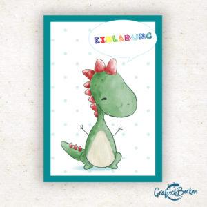 Dino Dinosaurier Freude Blumen Spaß Einladungskarte Kindergeburtstag Geburtstag Postkarte Illustratorin Catharina Voigt GrafischBecken