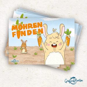 Spiel Möhren finden Block Hase Kaninchen Spaß Kinderspiel Schiffe versenken Illustratorin Catharina Voigt GrafischBecken