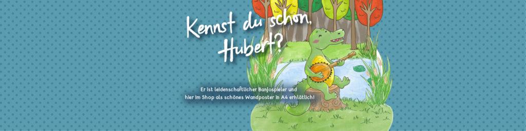 BAnner Hubert Kinderzimmer Deko Poster Krokodil Kinderillustration Illustratorin Catharina Voigt GrafischBecken  illustrierte Karten Geschenke Papeterie