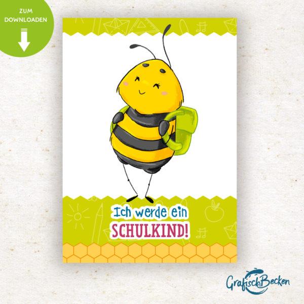Einschulung Einladung Bienen Schulkind ersten Schultag Biene Spaß Einladungskarte DIY basteln Digital download Illustratorin Catharina Voigt GrafischBecken