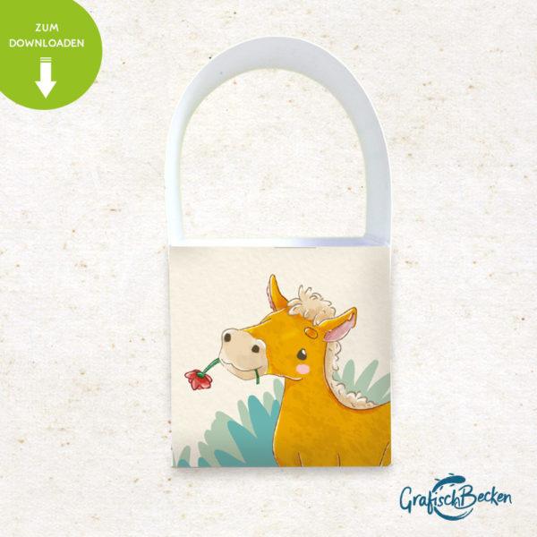 Pferd Folhen Spaß Einladungskarte Kindergeburtstag DIY basteln Digital download Illustratorin Catharina Voigt GrafischBecken