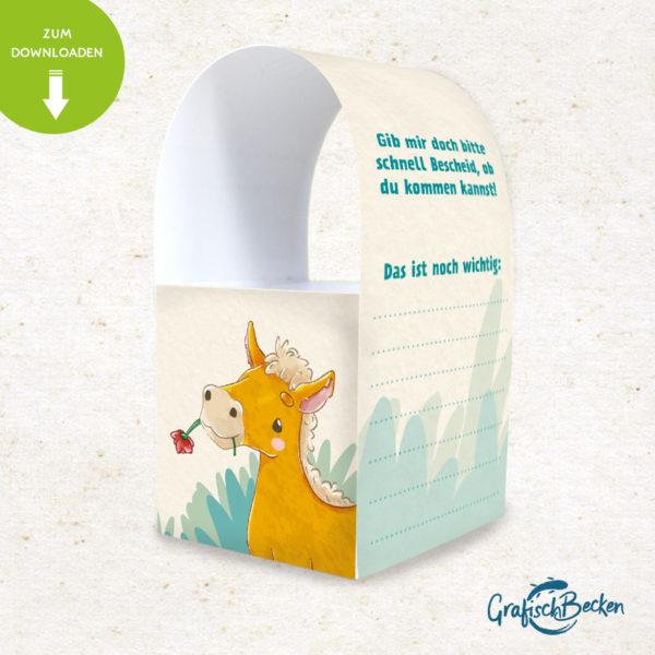 Pferd Fohlen Spaß Einladungskarte Kindergeburtstag DIY basteln Digital download Illustratorin Catharina Voigt GrafischBecken