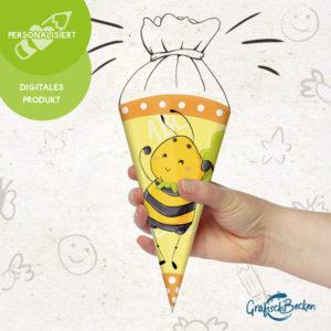 Einschulung Schulkind ersten Schultag Biene Spaß personalisiert Schultüte DIY basteln Digital download Illustratorin Catharina Voigt GrafischBecken