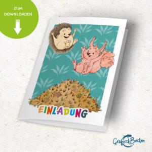 Igel Eichhörnchen Herbst Laubhaufen Spaß Einladungskarte Kindergeburtstag DIY basteln Digital download Illustratorin Catharina Voigt GrafischBecken
