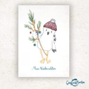 Weihnachten Plattdeutsch Platt Möwe Sanddorn Weihnachtsgrüße Weihnachtskarte Postkarte Illustratorin Catharina Voigt GrafischBecken