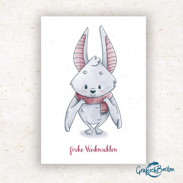 Weihnachten frohe Fledermaus Winter Schal Weihnachtsgrüße Weihnachtskarte Postkarte Illustratorin Catharina Voigt GrafischBecken
