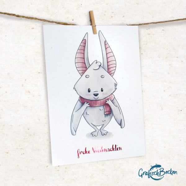 Weihnachten Fledermaus Winter Schal Weihnachtsgrüße Weihnachtskarte Postkarte Illustratorin Catharina Voigt GrafischBecken