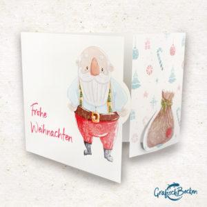 Klappkarte Weihnachten Weihnachtsmann Grußkarte Postkarte Illustratorin Catharina Voigt GrafischBecken