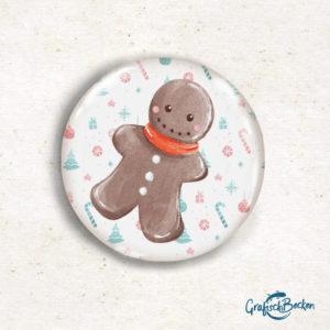 Button Lebkuchen Lebkuchenmann Lebkuchenfigur Magnet Geschenk Weihnachten Illustratorin Catharina Voigt GrafischBecken