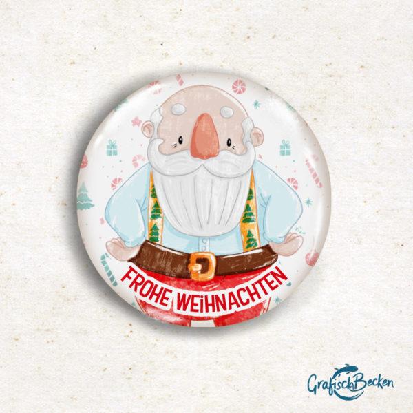 Button Weihnachtsmann Santa Claus Magnet Weihnachten Geschenk Illustratorin Catharina Voigt GrafischBecken