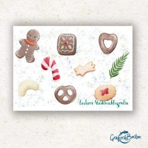 Illustration Lebkuchen Gebäcke Weihnachten Grüße Grußkarte Postkarte Illustratorin Catharina Voigt GrafischBecken