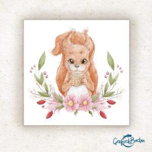 Illustration Eichhörnchen Frühling Ostern Blumen Blumenkranz Grußkarte Glückwünsche Postkarte Illustratorin Catharina Voigt GrafischBecken