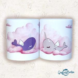 Tasse Doppelpack Wal Narwal Wolken Tee kaffee Getränk Geschenk Freundschaft Illustratorin Catharina Voigt GrafischBecken