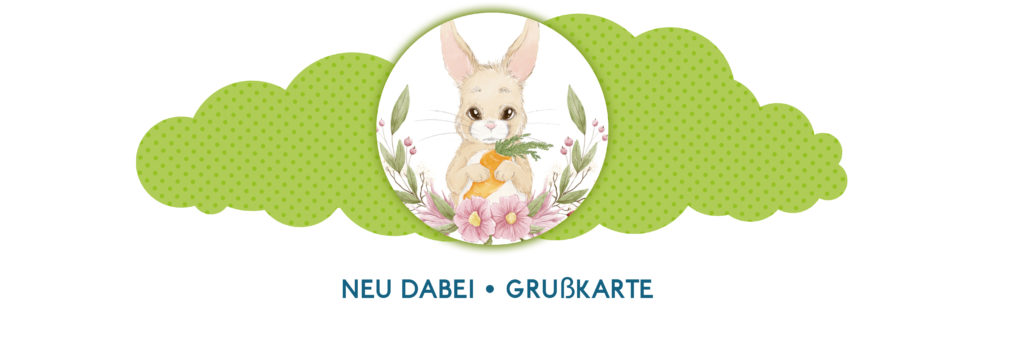 Banner Hase Illustration Grußkarte kleine Grüße Weihnachten Ostern