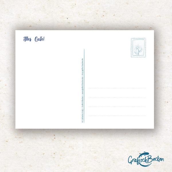 Postkarte Grüße Blume Alles Gute Geburtstag Illustratorin Catharina Voigt GrafischBecken