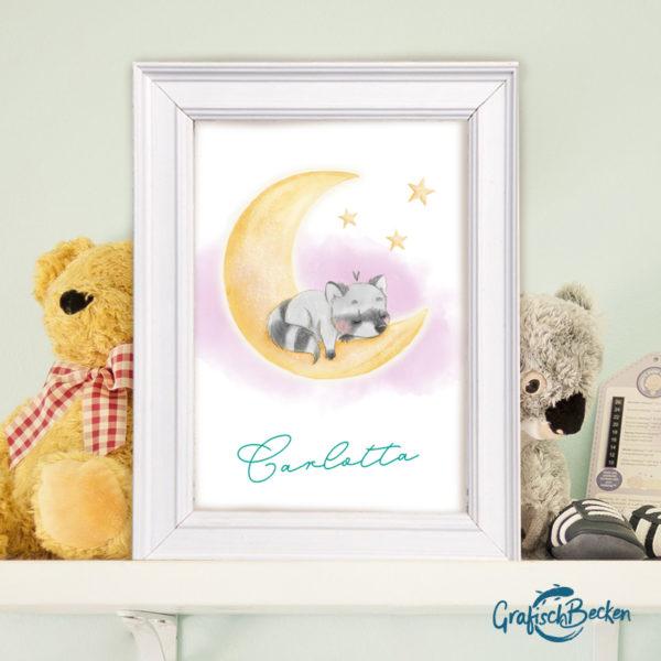 Namensposter personalisier Waschbär Mond Sterne Kinderzimmer Petrol Illustratorin Catharina Voigt GrafischBecken