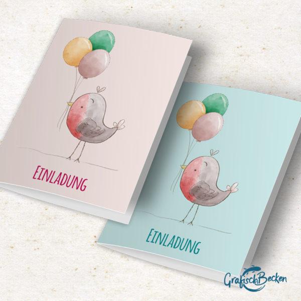 Einladungskarte Kindergeburtstag Rotkehlchen Klappkarte blau rosa