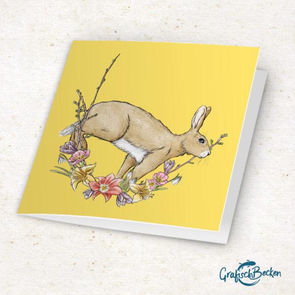 frohes Fest Osterkarte Ostern Frühling Feldhase Ostern