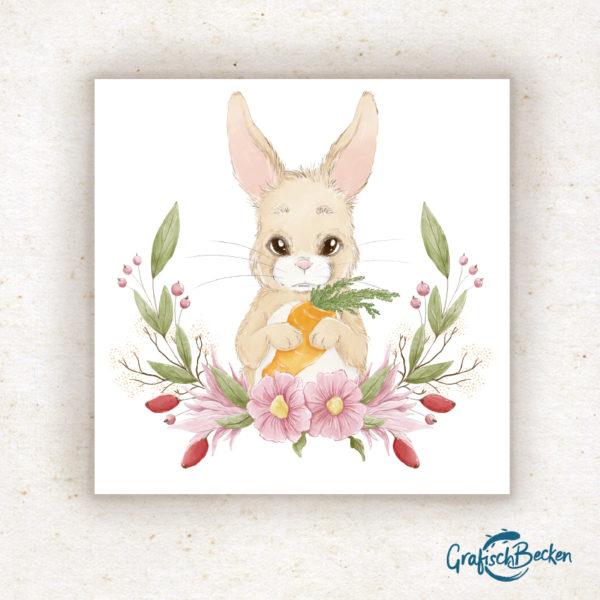 Postkarte Hase Frühling Blumen