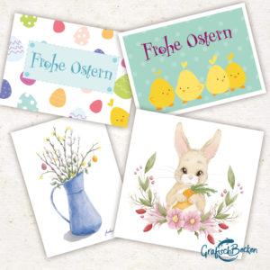 Ostern Osterbox Frühling Postkarten Osterstrauß Blumen Ostereier