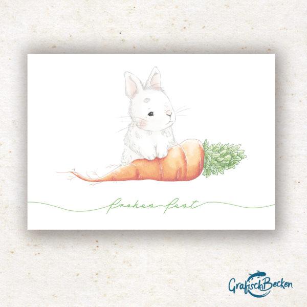 Ostern Kaninchen Möhre Grußkarte