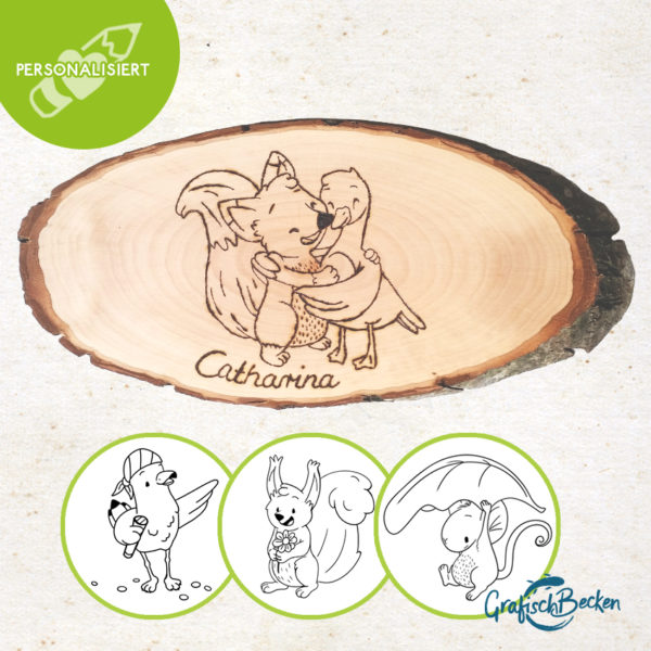 Brandmalerei personalisiertes Holzbrett Illustration Geschenk