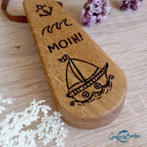 Flaschenöffner Holz Robbe Segelschiff papierboot