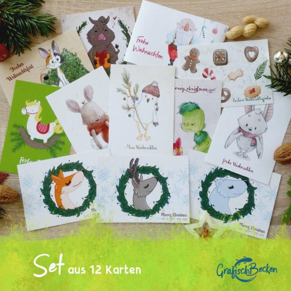 Weihnachtskarten-Set 12 Karten Catharina Voigt GrafischBecken