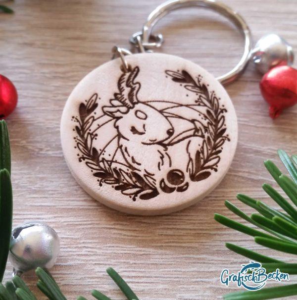 Holzanhänger Schlüsselanhänger Weihnachten Geschenk Illustration Catharina Voigt GrafischBecken