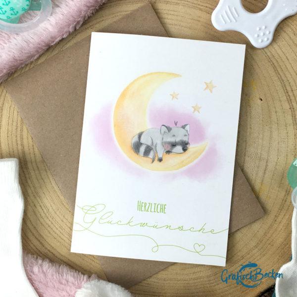 Grußkarte Herzliche Glückwünsche Waschbär