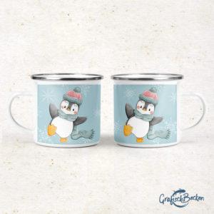 Emailletasse Emaillebecher Pinguin Winterspaß