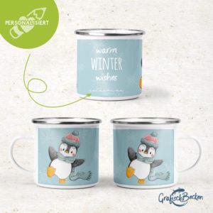 EMAILLEBECHER – Pinguin Winterspaß